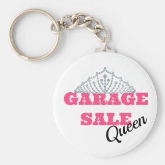 Línea de la reina de la venta de garaje llavero redondo tipo chapa