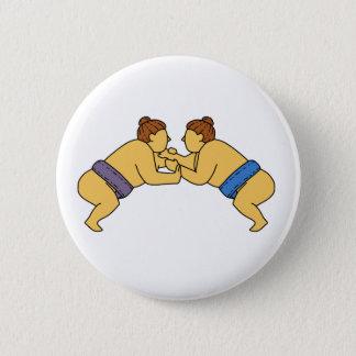 Línea de los luchadores del sumo de Rikishi mono Chapa Redonda De 5 Cm