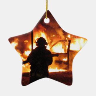 Línea del bombero adorno navideño de cerámica en forma de estrella