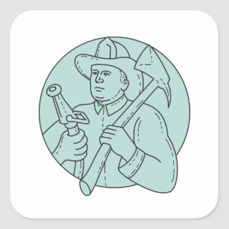 Línea del círculo de la manguera del hacha del pegatina cuadrada