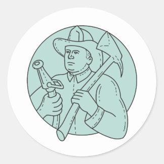 Línea del círculo de la manguera del hacha del pegatina redonda