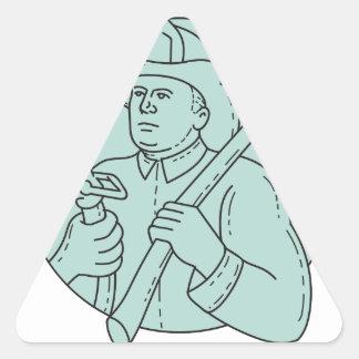 Línea del círculo de la manguera del hacha del pegatina triangular