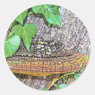 Línea del hongo de la familia pegatina redonda