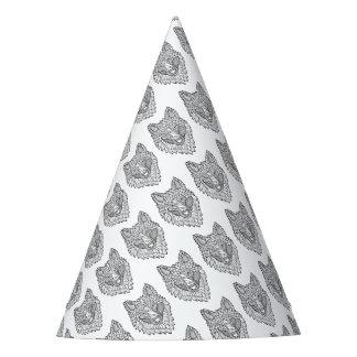 Línea diseño de Timberwolf del arte Gorro De Fiesta