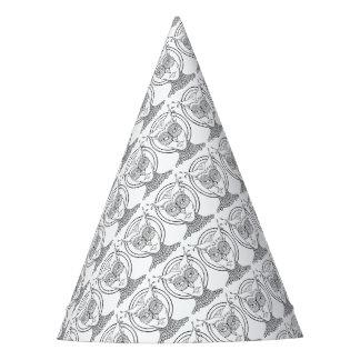 Línea diseño del búho de la mascarada del arte gorro de fiesta