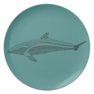 Línea diseño del delfín del arte plato de cena