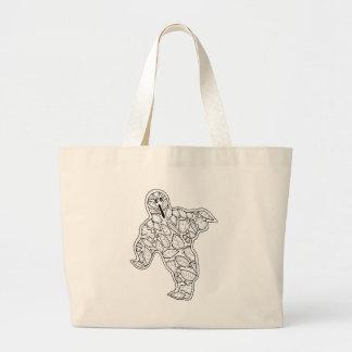 Línea diseño del fantasma de la mascarada del arte bolso de tela gigante