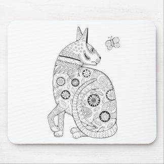 Línea diseño del gato y de la mariposa del arte alfombrilla de ratón