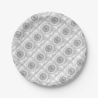 Línea diseño del girasol del arte plato de papel