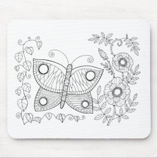 Línea diseño del jardín dos de la mariposa del alfombrilla de ratón