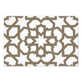 Línea en oro del patrón de mosaico de Marruecos Impresión Fotográfica