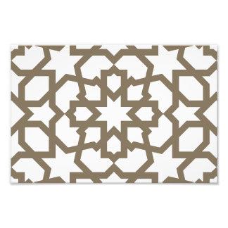 Línea en oro del patrón de mosaico de Marruecos Impresiones Fotográficas