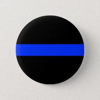 Línea fina azul botón de la policía