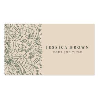 Línea floral tarjeta del vintage elegante de plantilla de tarjeta de negocio