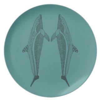 Línea gemela diseño del delfín del arte platos de comidas