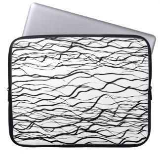 Línea gráfica blanco y negro moderna neopreno del funda para portátil