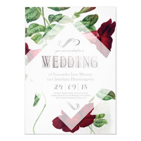 Línea intrépida invitación de boda floral de la