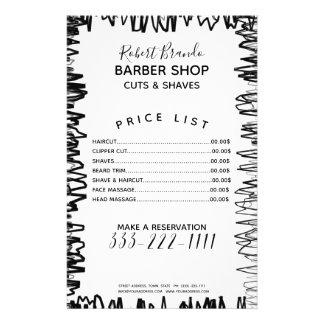 Línea lista de precios del peluquero negro y