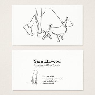Línea minimalista tarjeta del perro blanco y negro