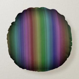 Línea modelo de la raya de la roca del arco iris cojín redondo