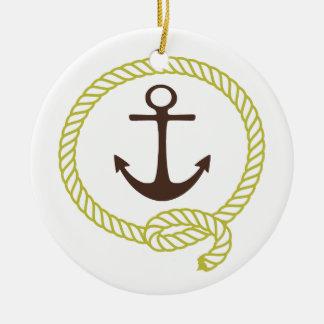 Línea náutica ejemplo del ancla del marinero de la adorno redondo de cerámica