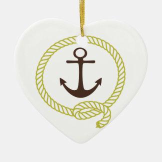 Línea náutica ejemplo del ancla del marinero de la ornamentos de navidad