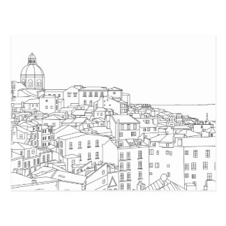 Línea negra y blanca postal del arte de Lisboa
