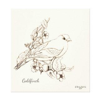 Línea negro del arte en el Goldfinch blanco del