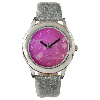 Línea ondulada abstracta rosada femenina relojes de mano