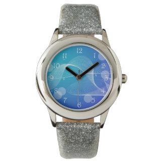 Línea ondulada azul abstracta relojes de mano