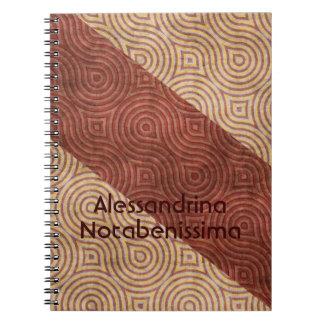 Línea ondulada beige diagonales de Borgoña adaptab Libros De Apuntes