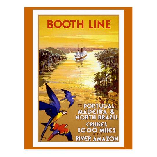 """""""Línea"""" poster de la cabina del viaje del vintage Postal"""