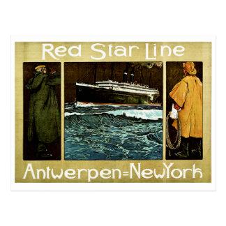 Línea roja Antwerpen de la estrella a Nueva York Tarjetas Postales