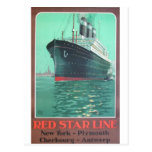 Línea roja anuncio viejo titánico de la estrella tarjeta postal