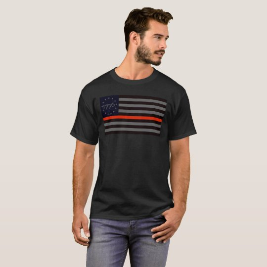 Línea roja fina 1776 camiseta