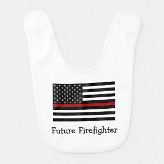 Línea roja fina babero del bombero del bebé