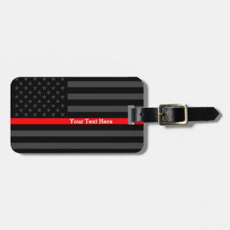 Línea roja fina bandera negra personalizada del etiqueta para maletas