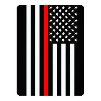 Línea roja fina estilo del americano invitación 16,5 x 22,2 cm