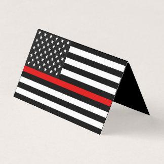 Línea roja fina monumento de la bandera americana tarjeta