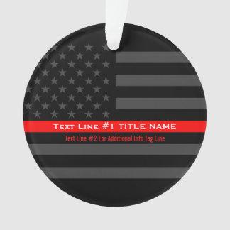 Línea roja fina personalizada bandera gris de los adorno