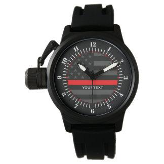 Línea roja fina personalizada bandera gris de los reloj de pulsera