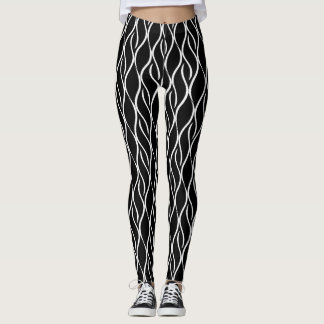 Línea vertical Curvy blanca fondo del negro del Leggings