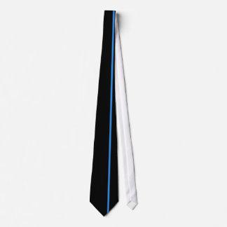 Línea vertical fina de Bleu de Francia en negro Corbatas Personalizadas