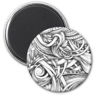 Líneas abstractas de Swirly del Doodle sombreadas Imán Redondo 5 Cm