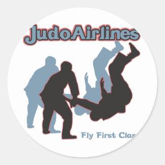 Líneas aéreas del judo etiquetas redondas