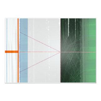 Líneas anaranjadas abstractas invitación 12,7 x 17,8 cm