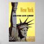 Líneas de aire unidas de Nueva York estatua de lib Impresiones