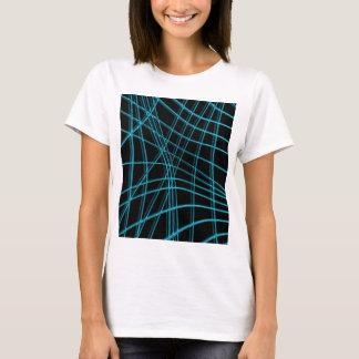 Líneas deformadas ciánicas y negras camiseta