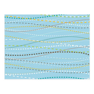 Líneas discontinuas punteadas onduladas de la postal
