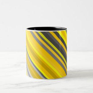 Líneas/modelo amarillos y grises de las rayas taza bicolor